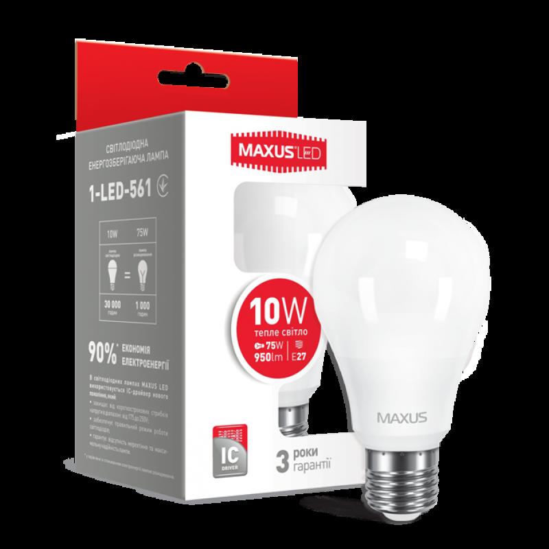 Лампа светодиодная MAXUS A60 10W теплый свет 220V E27
