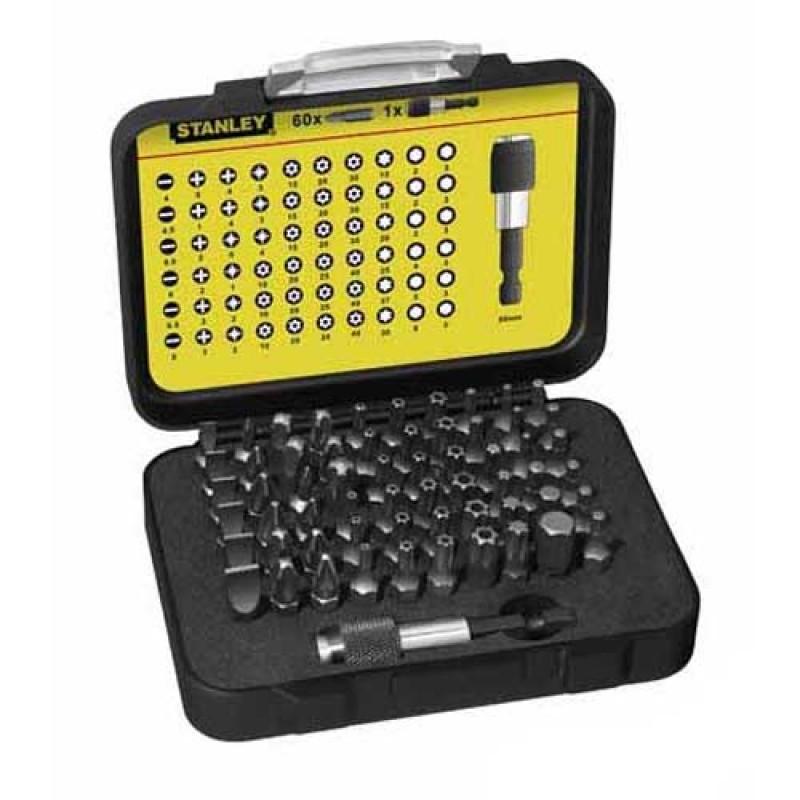 """набор бит STANLEY """" Expert"""" L=25мм с магнитным держателем 1/4"""", 60 предметов."""