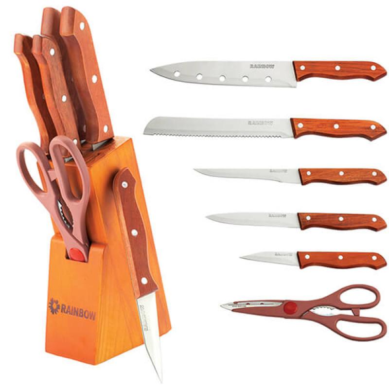 MR-1401 Ножи Rainbow (7 предметов деревянные ручки)