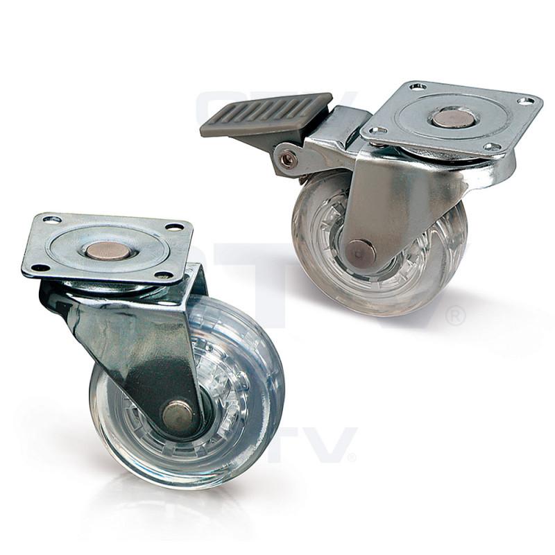 GTV Мебельный ролик d 50 резиновый прозрачный с фиксатором