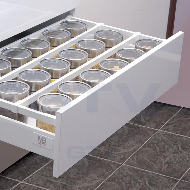 GTV Modern box SQUARE -высокий ящик со стеклянными боковинками L-450 мм серый