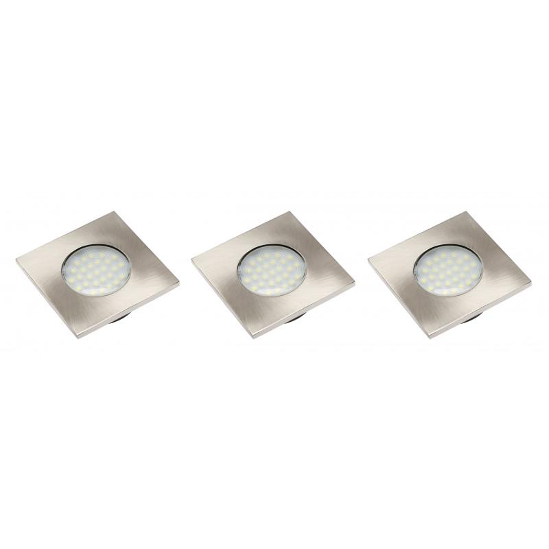 GTV Набор 3 квадратных светодиодных светильников MARBELLA PLUS б/х