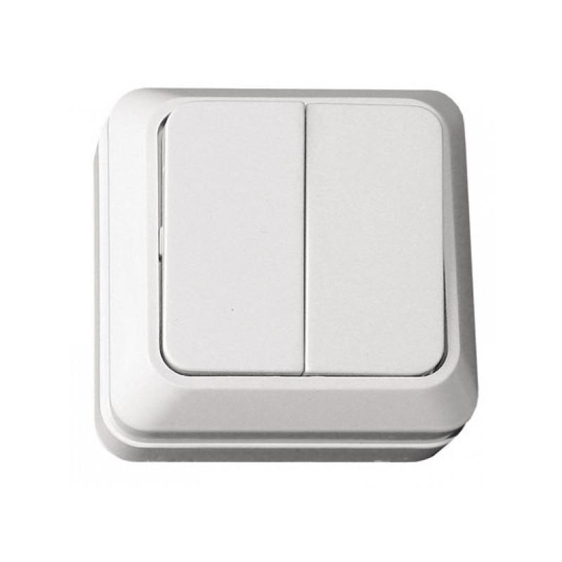 Выключатель двойной накладной OPERA белый