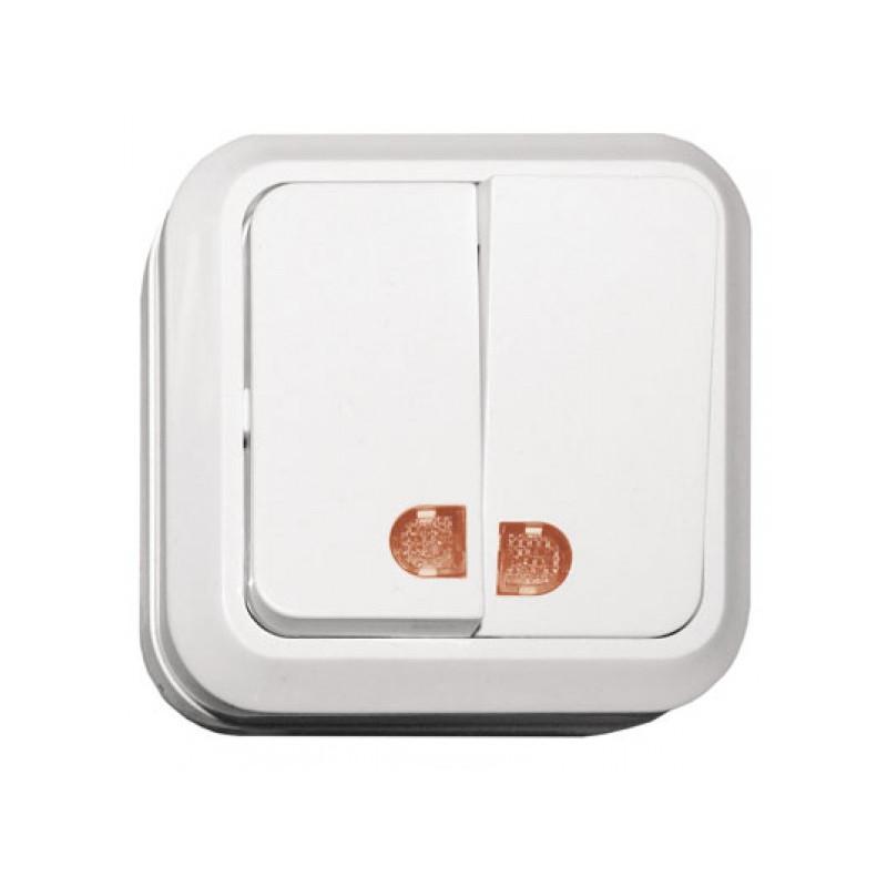 Выключатель двойной с подсветкой накладной OPERA белый