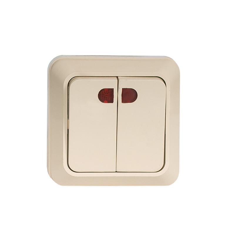 Выключатель двойной с подсветкой накладной OPERA крем