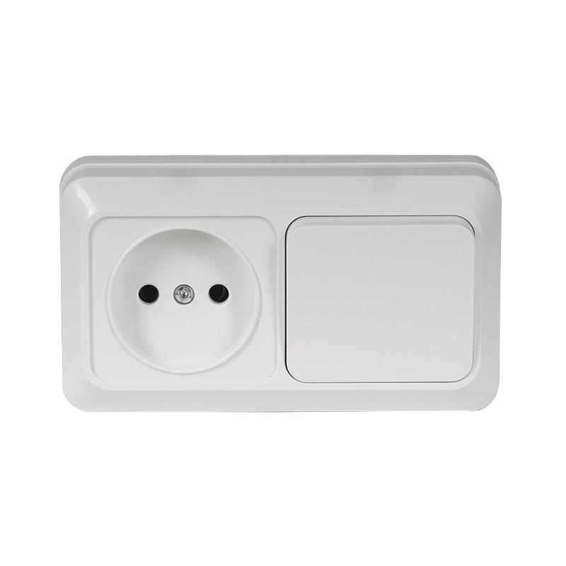 Блок розетка + выключатель накладной OPERA белый