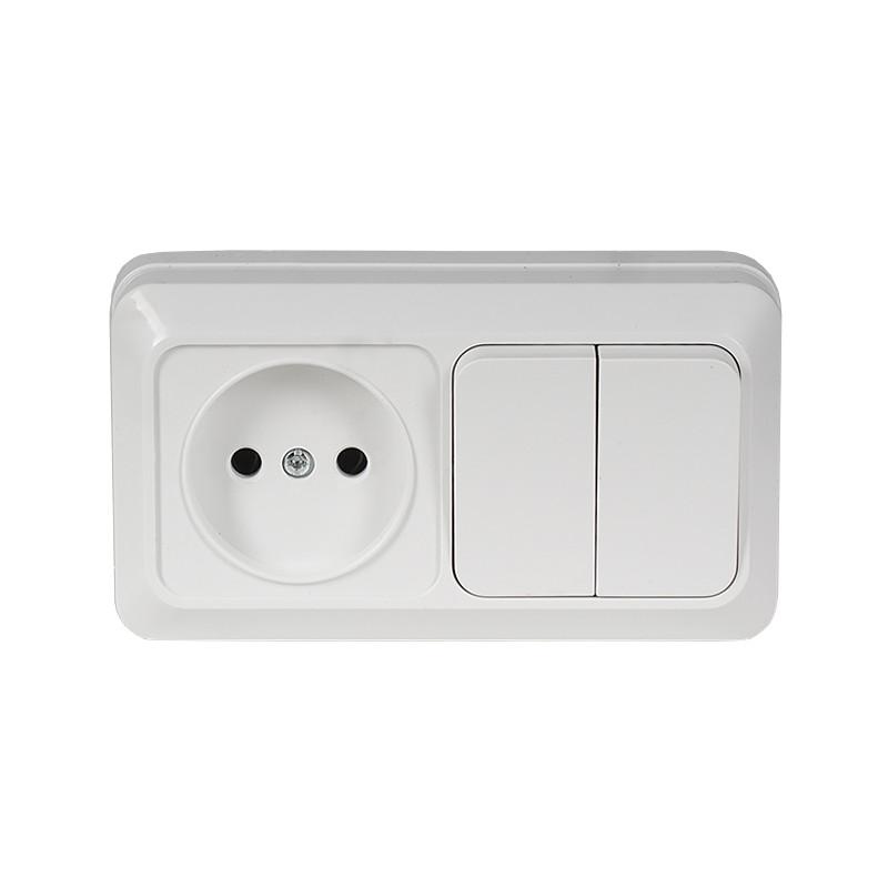 Блок розетка + двойной выключатель накладной OPERA белый