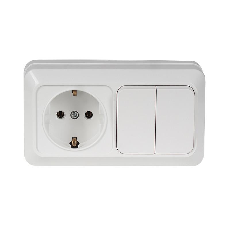 Блок розетка с заземлением + двойной выключатель накладной OPERA белый