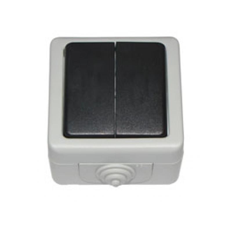 Выключатель двойной накладной DEBUT серый