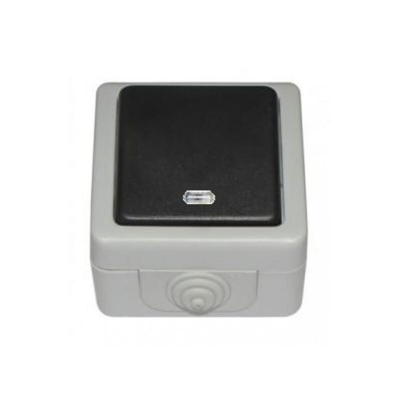 Выключатель с подсветкой накладной DEBUT серый