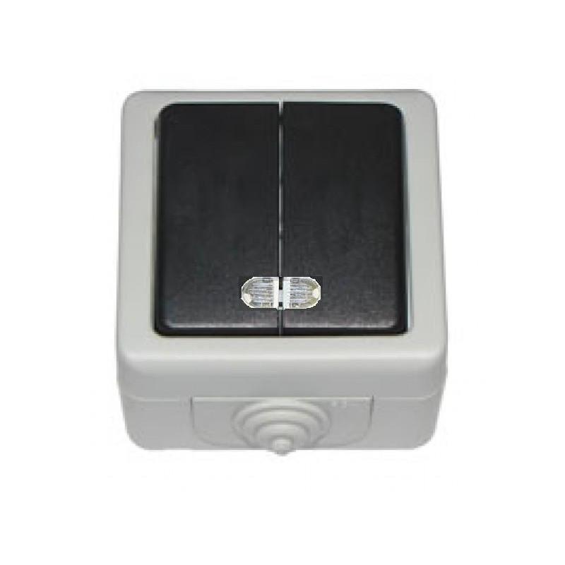 Выключатель двойной с подсветкой накладной DEBUT серый