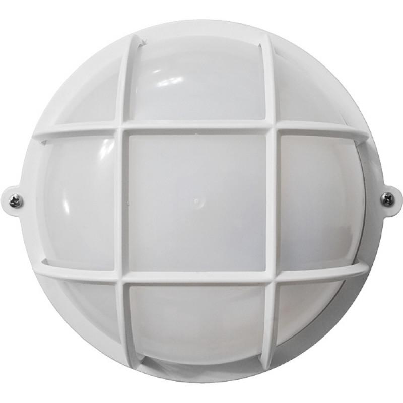 Круг белый опаловый плафон с решеткой ПП-1051-07-1/6 (пластик/пластик)